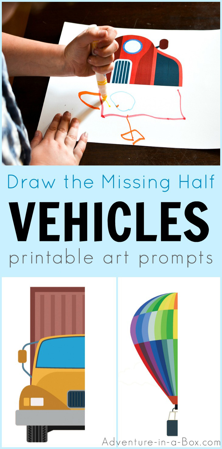 Draw the missing half of a vehicle! These printabledrawing promptsaregood forintroducingsymmetry and basic geometric shapes to children.