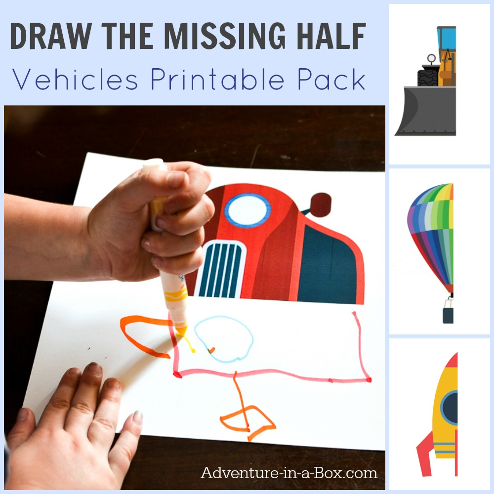 Vehicle Drawing Prompt: With this free printable, challenge your kids to draw the missing half of a vehicle (includes a car, a truck, an airplane, a rocket and even a UFO). Great for studying symmetry and developing pre-writing skills!