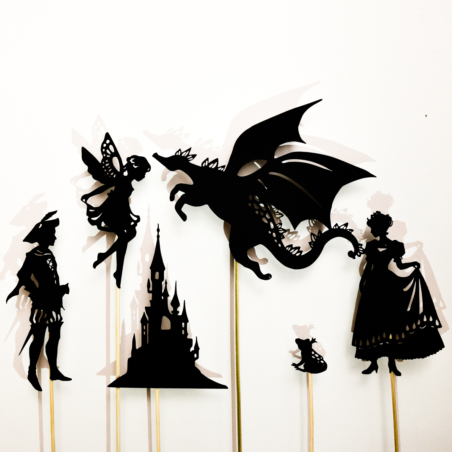 free shadow puppet templates - make a fairy tale shadow puppet set