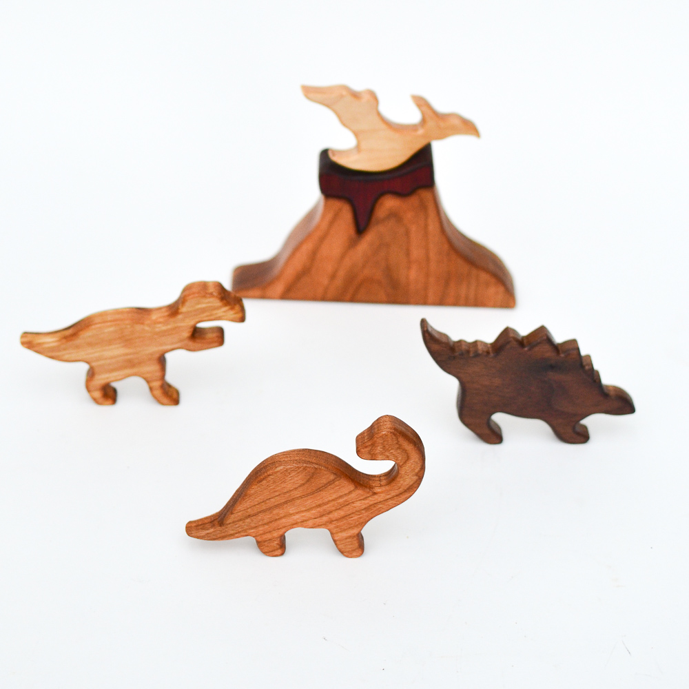 Set of 4 Wooden Dinosaurs