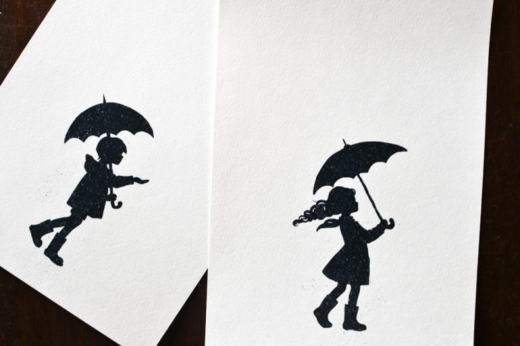 Painting Rain with a Printable Art Prompt: Print the silhouettes.
