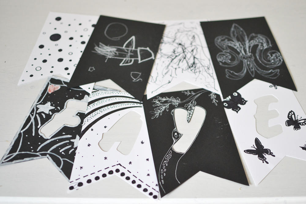 Black and white pennants.