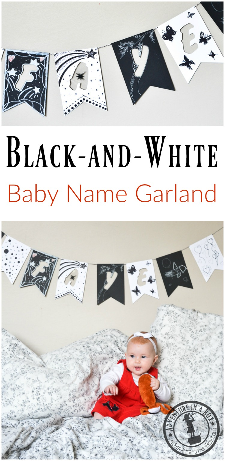 Baby's name garland is a great baby shower craft or the first month birthday present! A high-contrast black-and-white garland is so much fun to make together with guests.