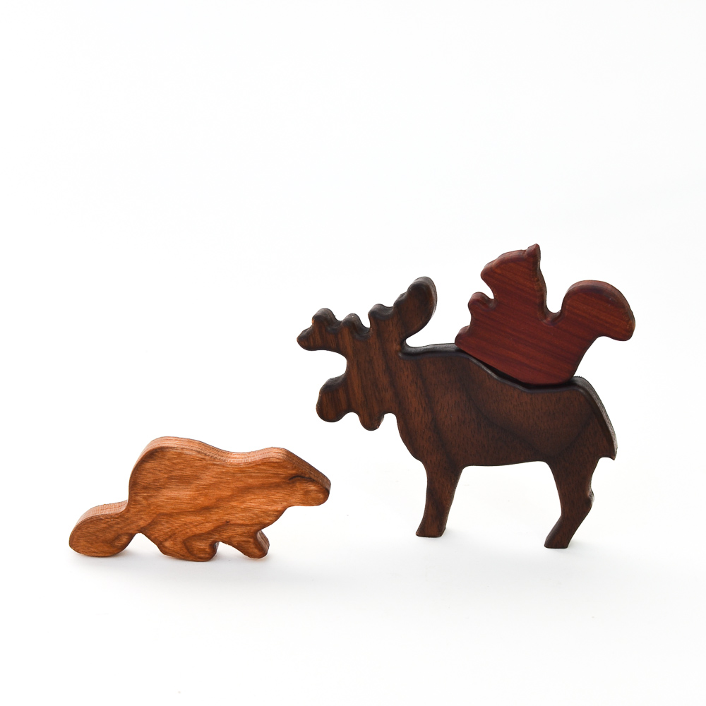 Wooden Canadian Animals Set 6 Toys Adventure In A Box