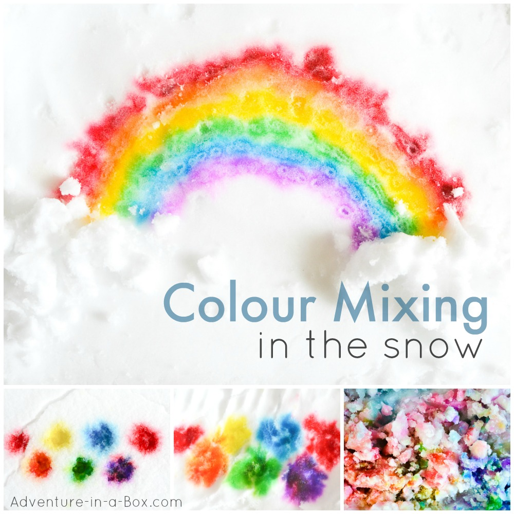 A great winter art project for kids! When the cold weather hits, bring snow inside and start mixing colours in the snow.