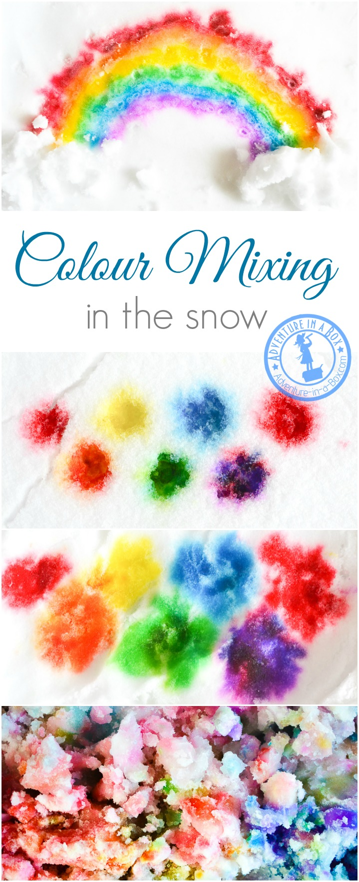When it's too cold to play with snow outside, bring it inside and open a colour mixing lab with paints in the snow. Fun winter art project for kids!
