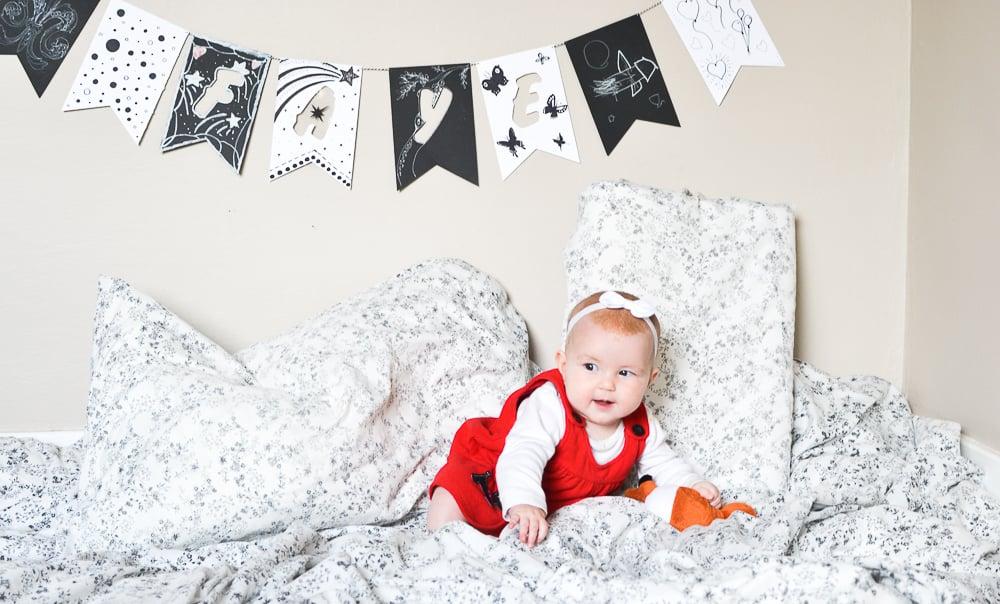 Black and White Baby Name Garland