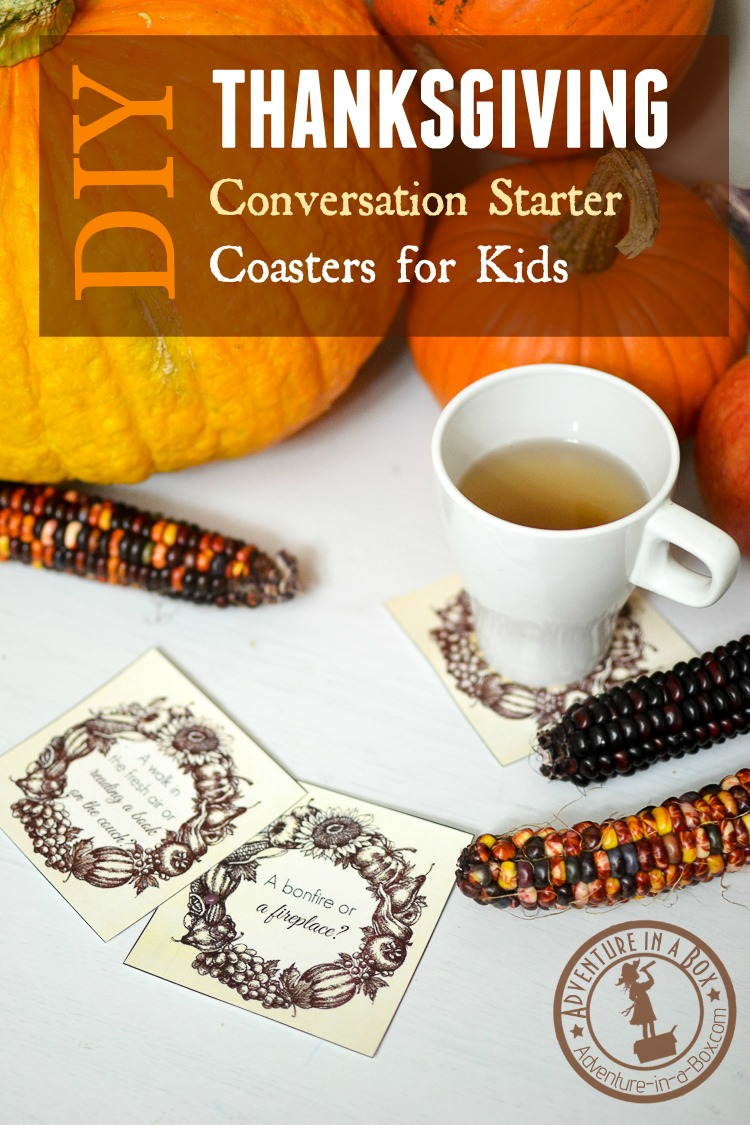 Thanksgiving Conversation Starter Coasters for Kids: If you plan a big family gathering for Thanksgiving, ease everyone, including kids, into talking with fun questions from our free printable!