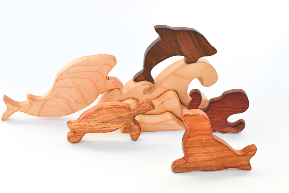 Wooden Sea Life Animals Set With Wave Puzzle 5 Toys