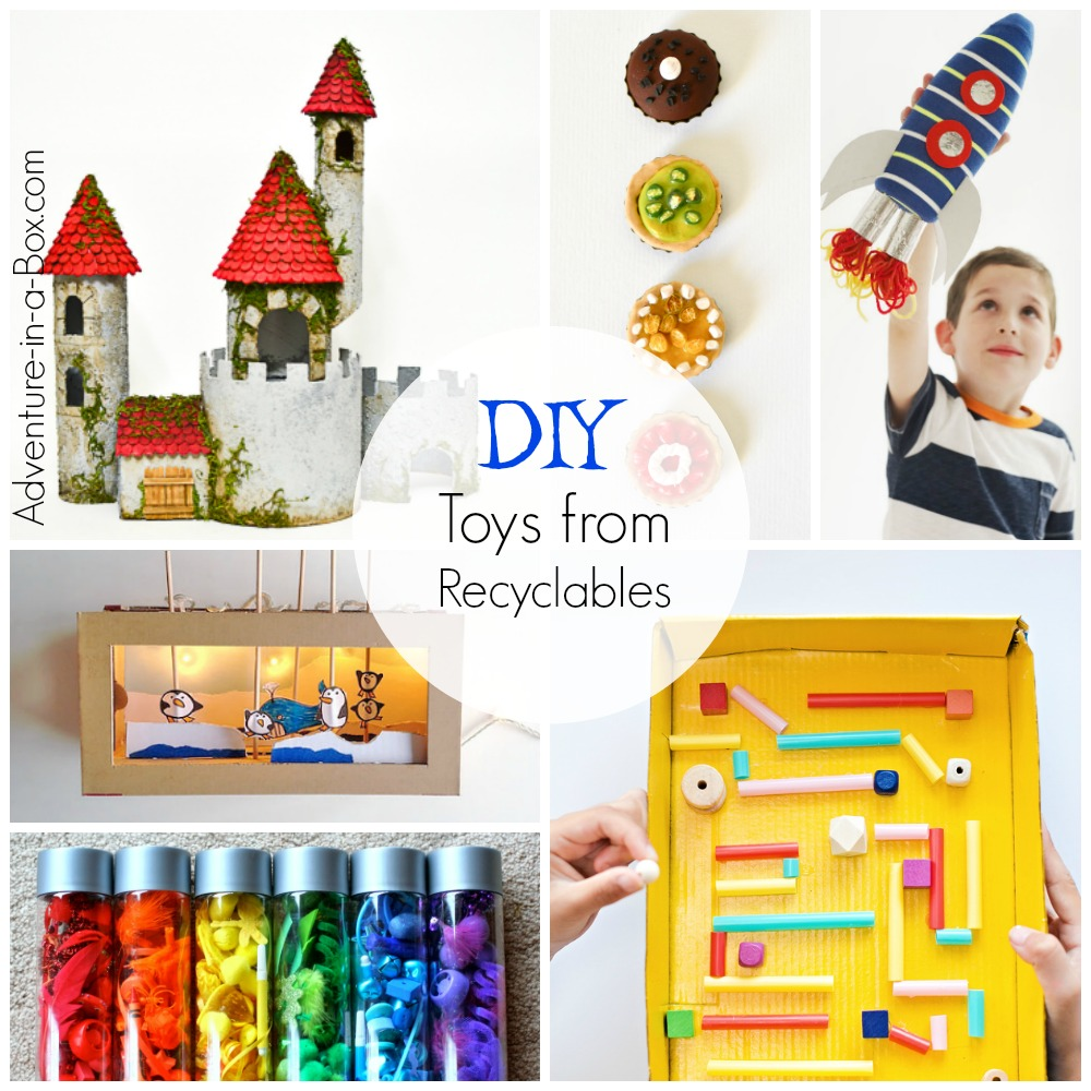 Cheap handmade toys and endless amount of fun for kids! They come from the junk bin! Over 30 ideas of easy toy projects made from recycled materials.