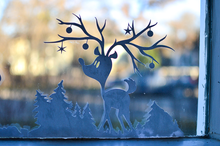 Printable Christmas Window Silhouettes. Daylight view.