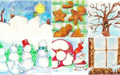Winter Art Projects with Printable Prompts for Kids
