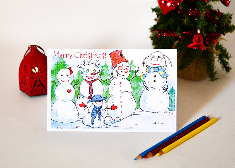 Make a card with happy snowmen by finishing this free printable art prompt!!