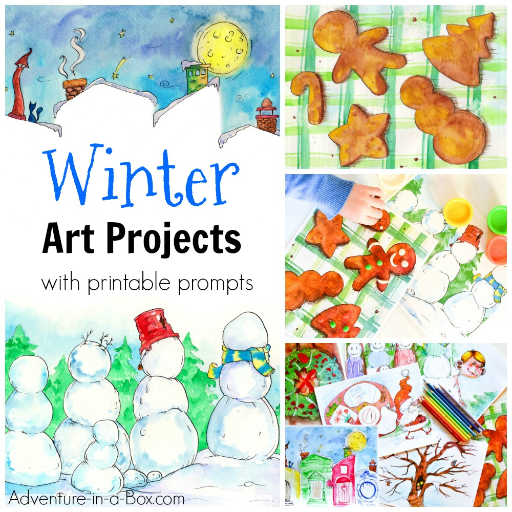 Winter art projects with printable art prompts for kids. Great as boredom busters, quiet time activities, for play dates, parties and play schools! Work with paints, pencils and play-dough. Free printable art prompt included.