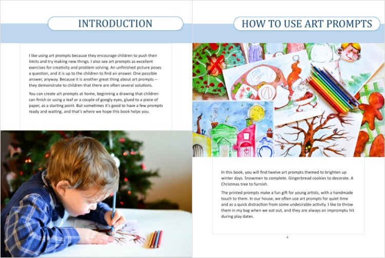Winter art projects with printable art prompts for kids. Example of the pages.