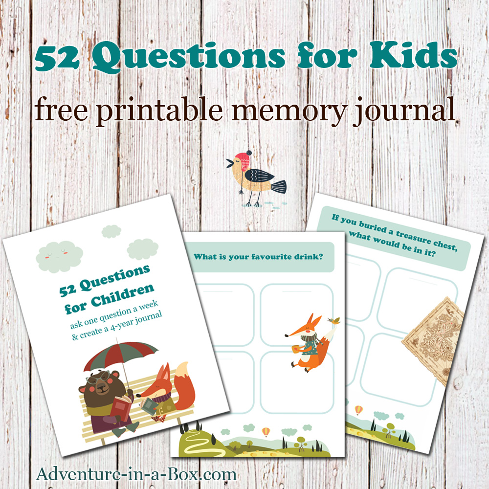 52 questions for children free printable template