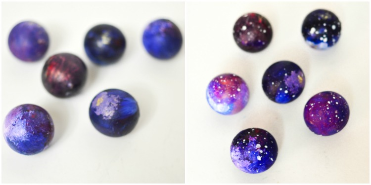 DIY Kid-Made Space Christmas Ornaments: Finishing touches