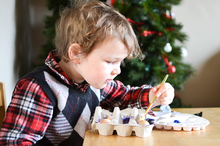 DIY Kid-Made Space Christmas Ornaments: So easy that a 3-year-old can do it!