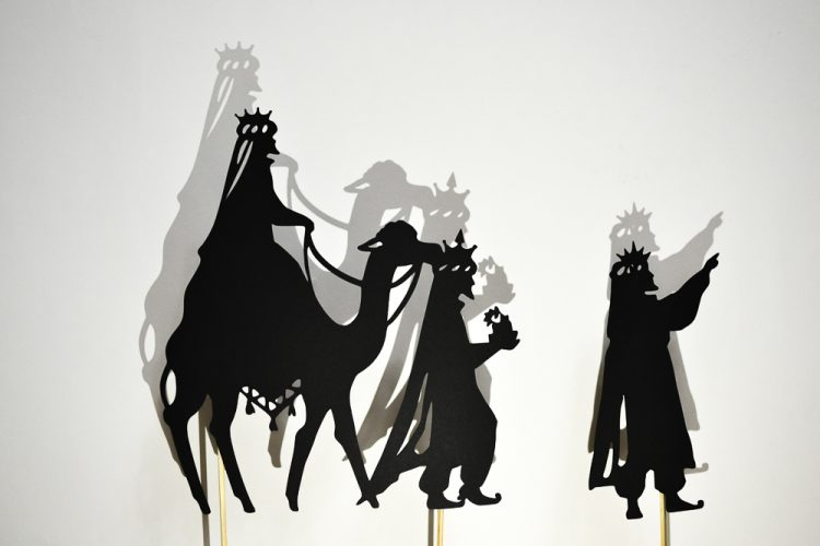 image relating to Free Printable Silhouette of Nativity Scene identified as Xmas Nativity Scene Shadow Puppet Printables