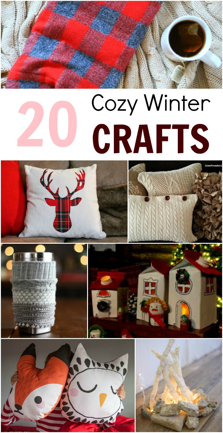 DIY Cozy Crafts to make in the Winter: giant chunky blankets and fluffy pillows, candles and luminaries, cup cozies and other crafts to warm you up!