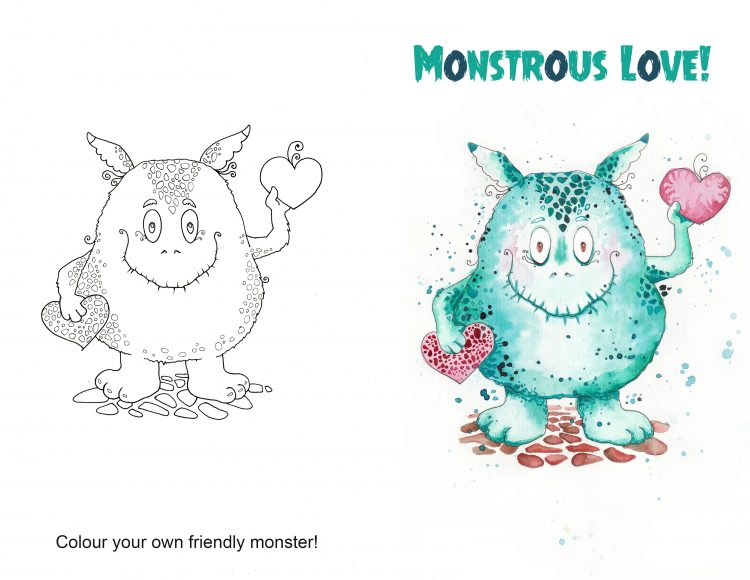 Friendly Monster: free printable card + colouring page + drawing prompt.