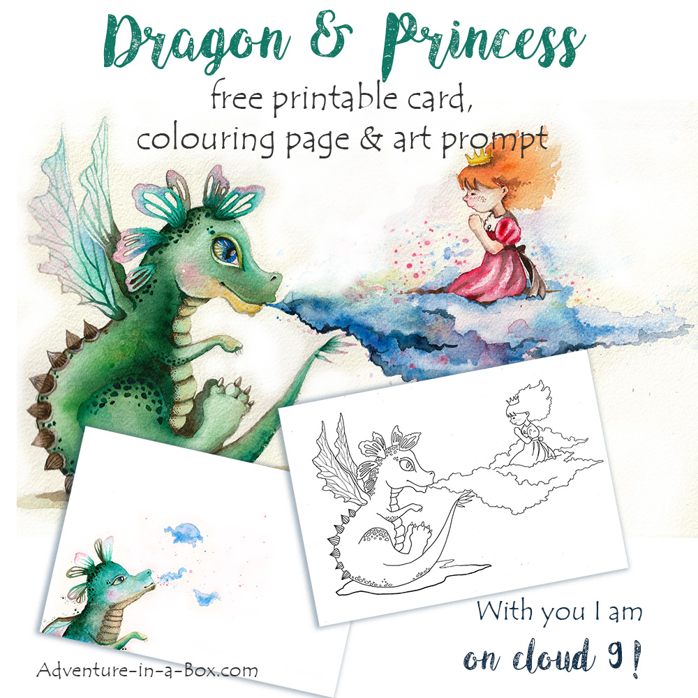Dragon Princess Free Printable Card Colouring Page and