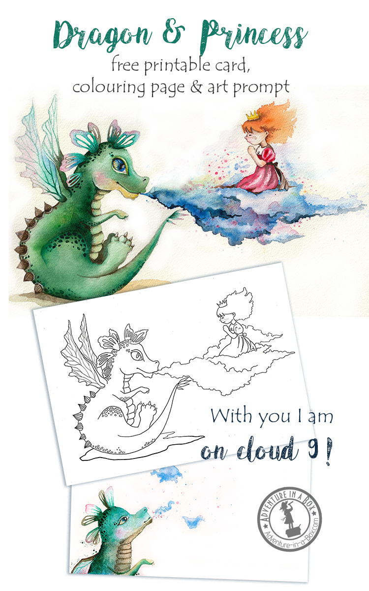 Dragon and Princess: free printable card + colouring page + drawing prompt. A fun little gift that doubles as a craft for kids who like to draw!