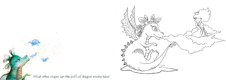 Dragon and Princess: free printable card + colouring page + drawing prompt.