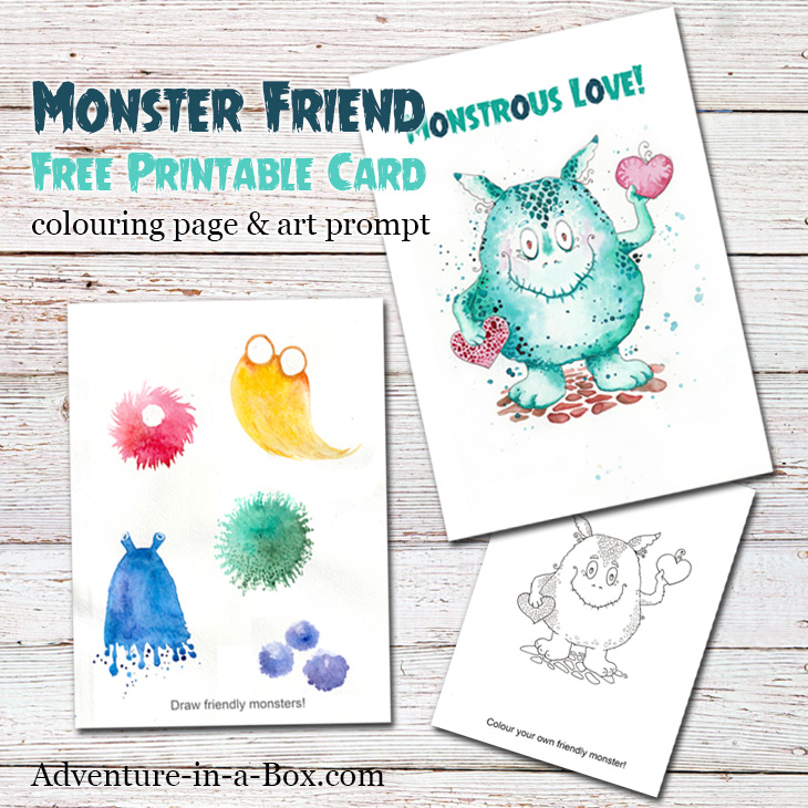 image regarding Printable Monster titled Helpful Monster: No cost Printable Card, Colouring Site