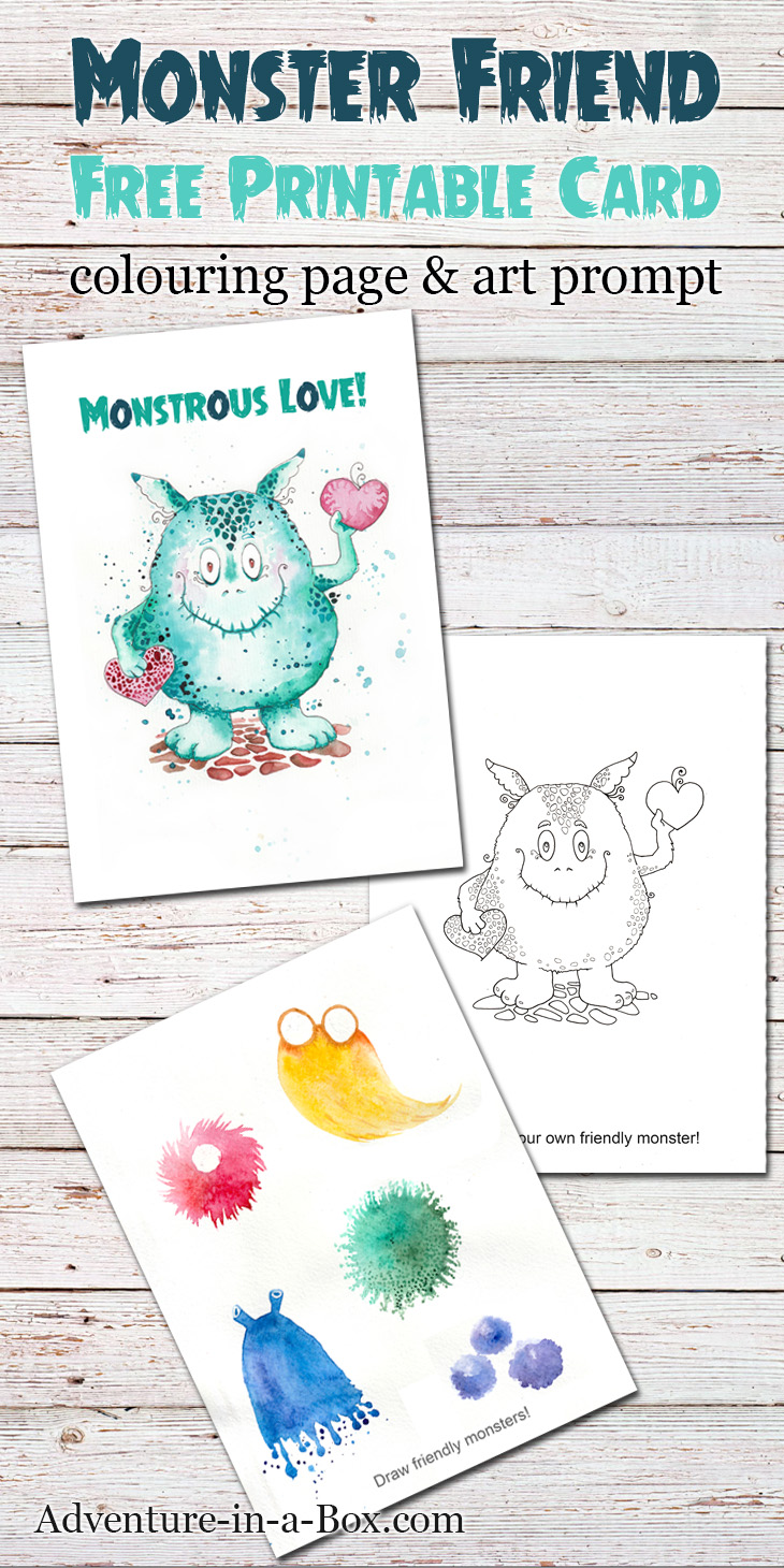 Friendly Monster Free Printable Card Colouring Page