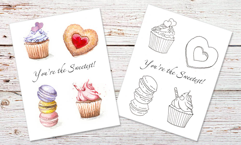 Cupcakes And Hearts Free Printable Card Amp Colouring Page