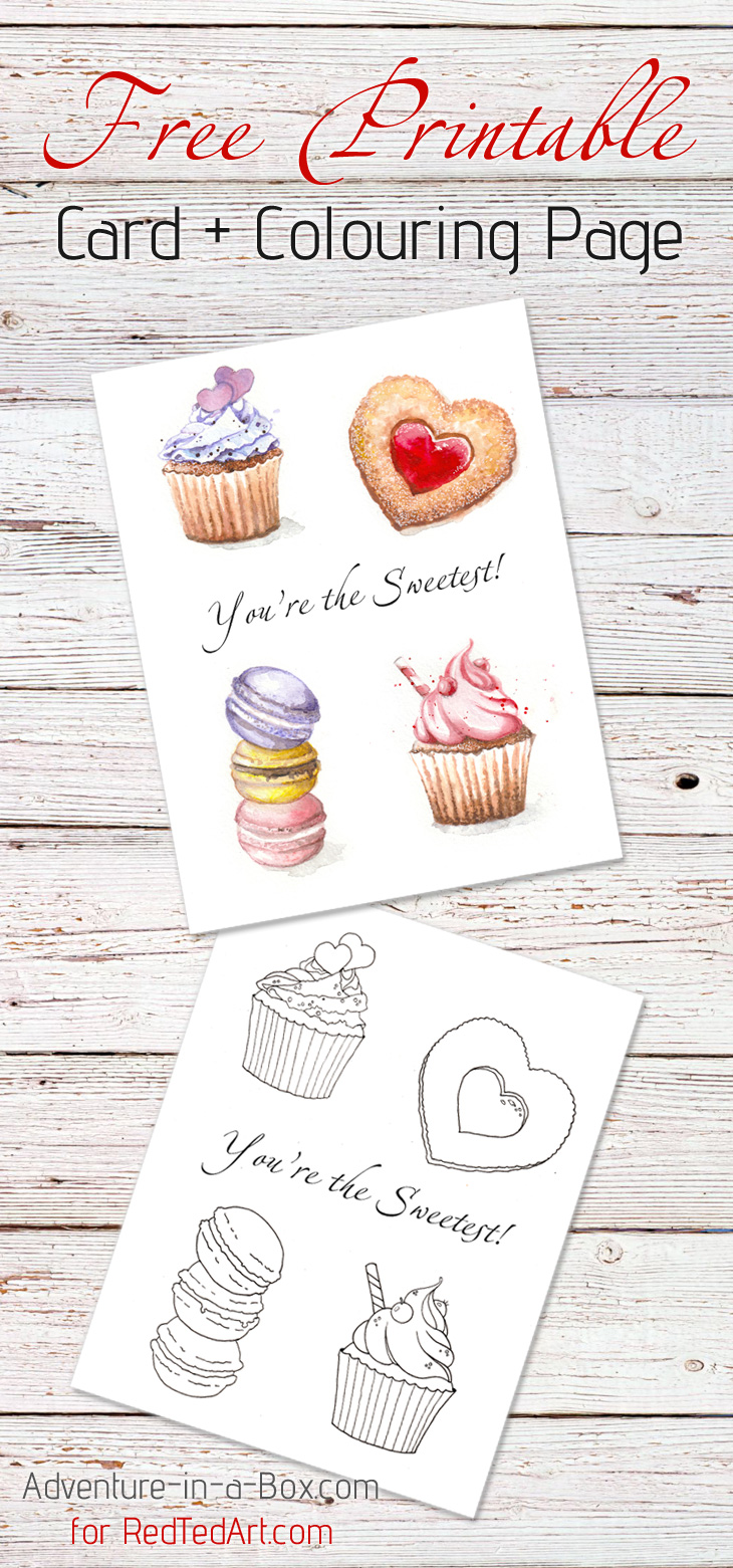 Cupcakes & Love: Free printable card & colouring page! Great as a Valentine's Day card and craft for kids.