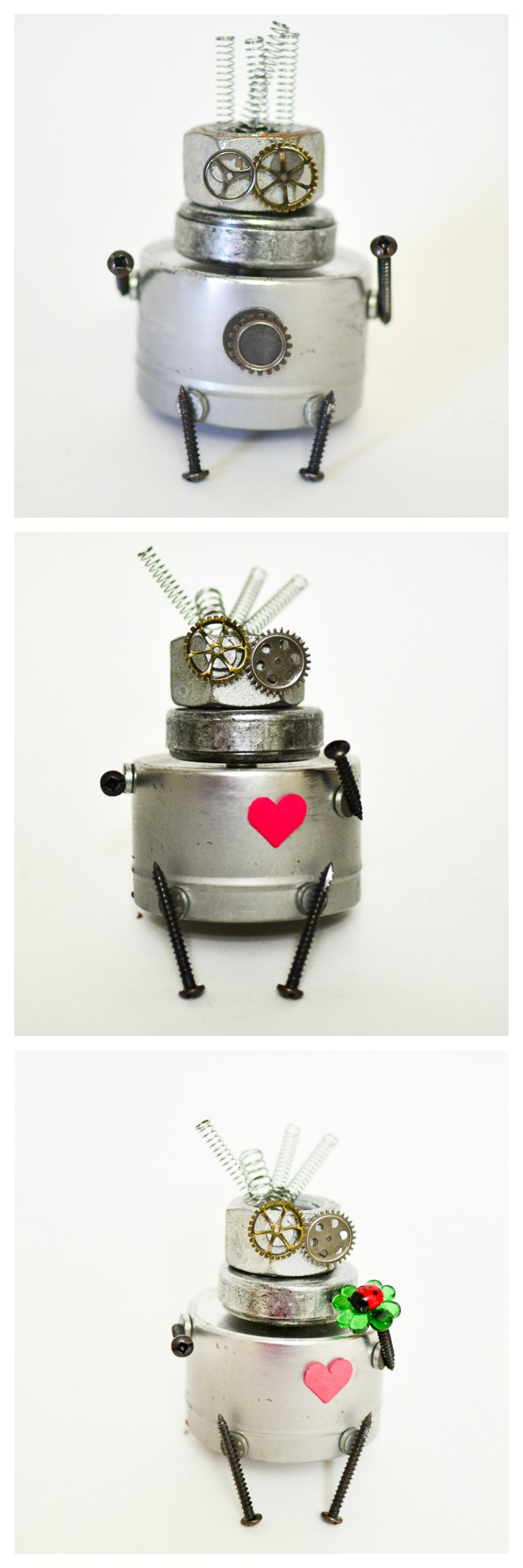 Magnetic scrap metal sculptures, robots and machines. Steampunk-inspired craft and STEAM building fun for kids!