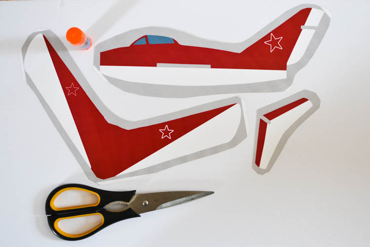 DIY Foam Glider Airplane with a Free Printable Pattern: Gluing the pieces.