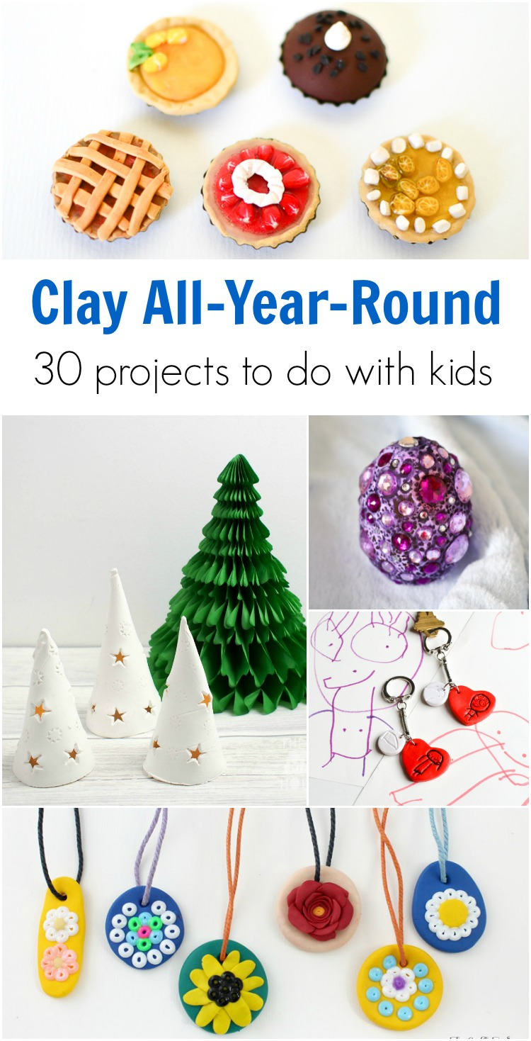30 Clay Projects to Do with Kids: Polymer clay and air-dry clay for kids all year round. Projects for Christmas, Easter, Halloween and Thanksgiving!