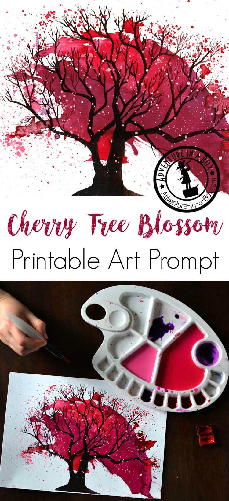 Paint blooming cherry trees, using the free printable art prompt as a starting point to experiment with the fun process art technique of splattering paint. Fun spring craft for kids!