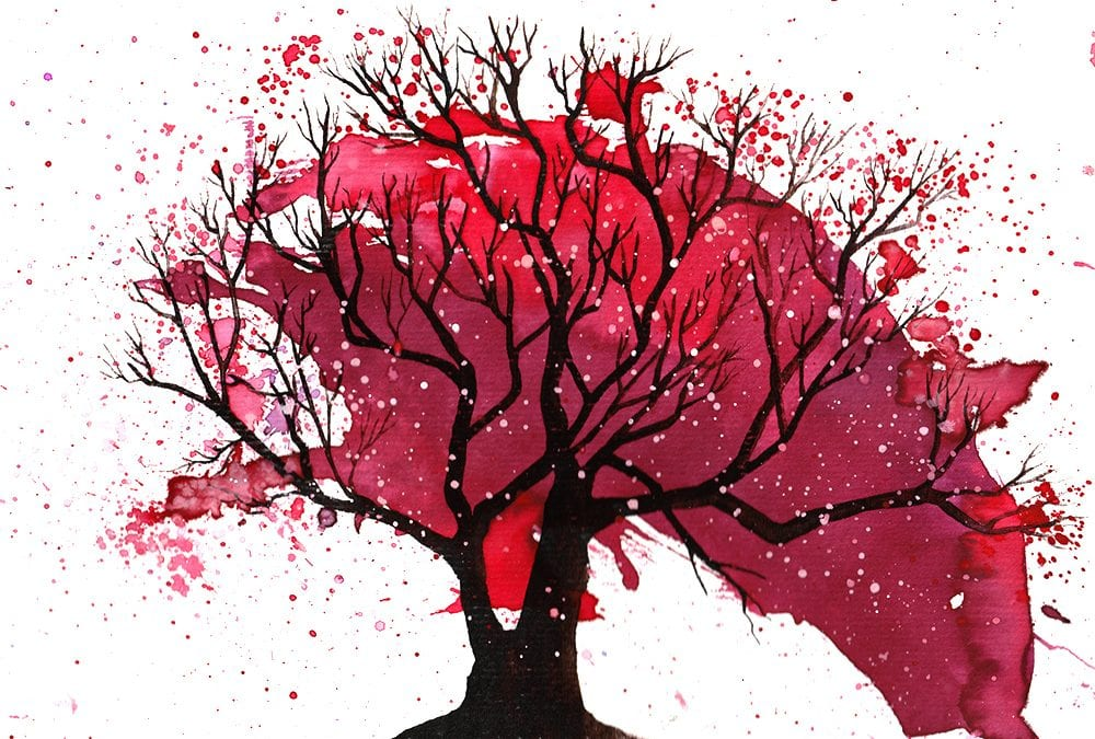 Cherry Tree Blossom Splatter Art with Printable Prompt