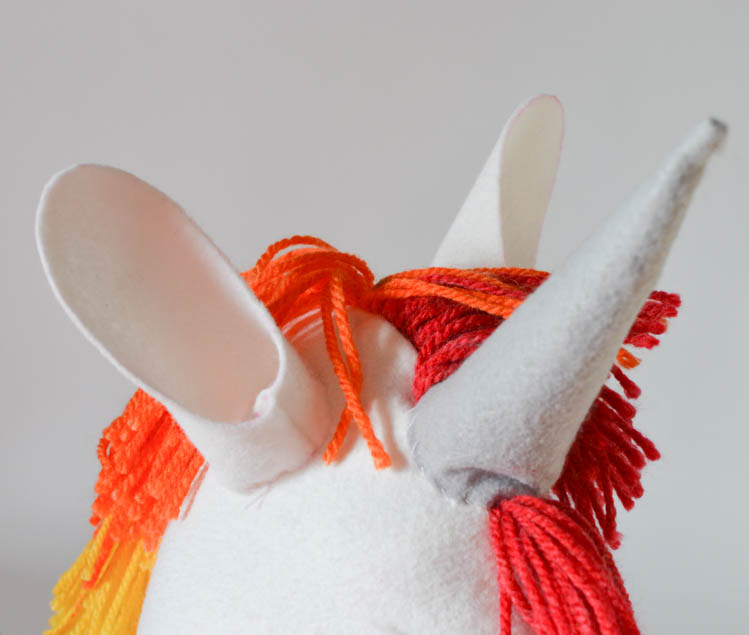 DIY Felt Rainbow Unicorn Hobby Horse: How to make ears.