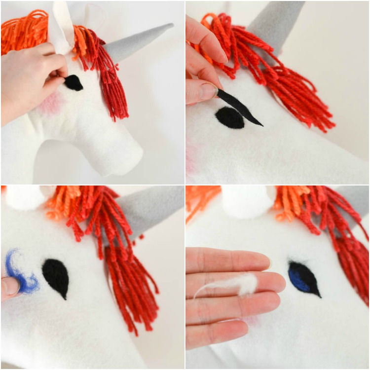DIY Felt Rainbow Unicorn Hobby Horse: How to Felt Eyes.