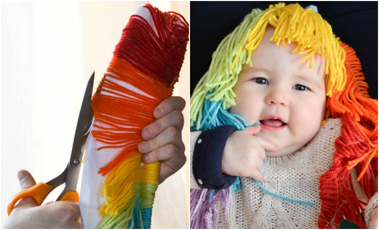 DIY Felt Rainbow Unicorn Hobby Horse: How to make the mane.