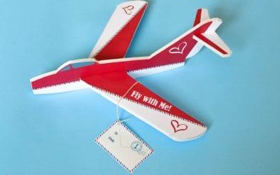 DIY Valentine Foam Airplane with Printable Design