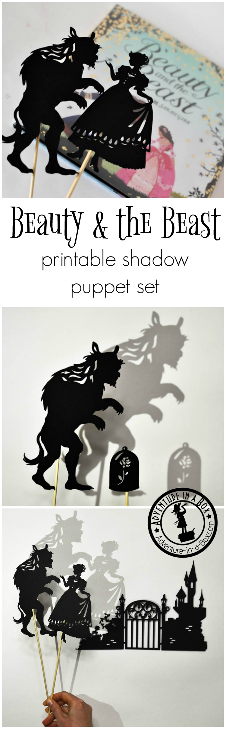 Inspired by the Beauty and the Beast fairy-tale, these shadow puppets will let the kids tell their version of the story. Printable silhouettes will work great for Beauty and the Beast party, lesson or craft!