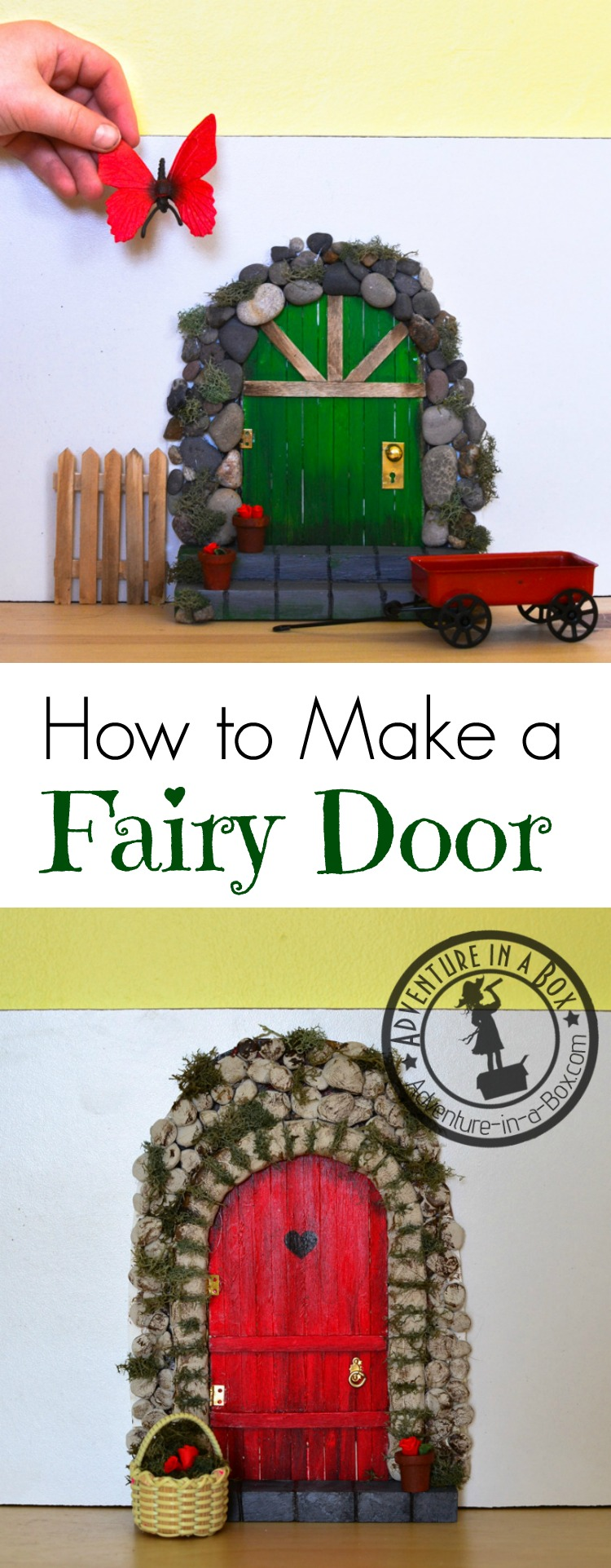 Add a little bit of whimsical magic to your playroom decor by making an indoor fairy door! All you really need for this DIY project is craft sticks, pebbles and glue.