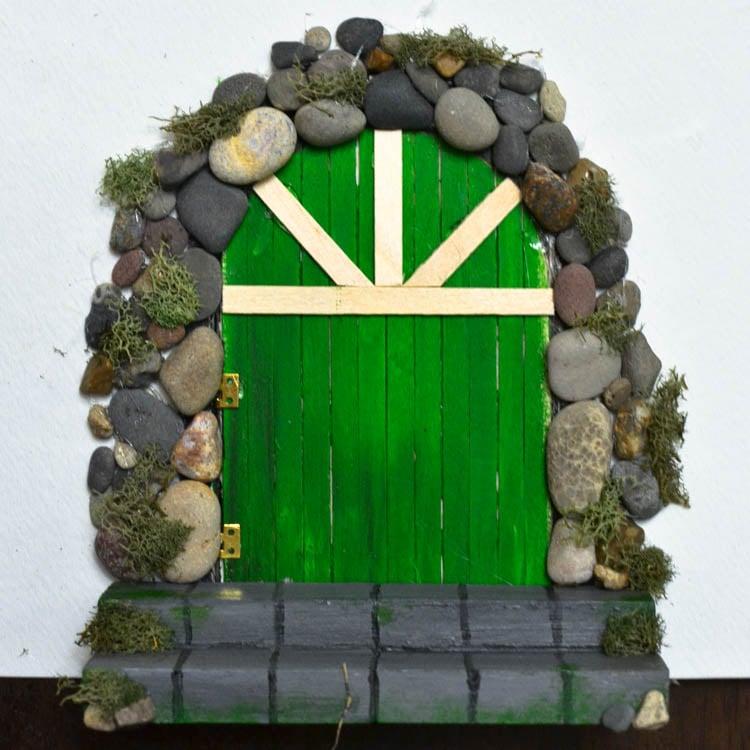 Make a diy fairy door from craft sticks rocks for Homemade elf door