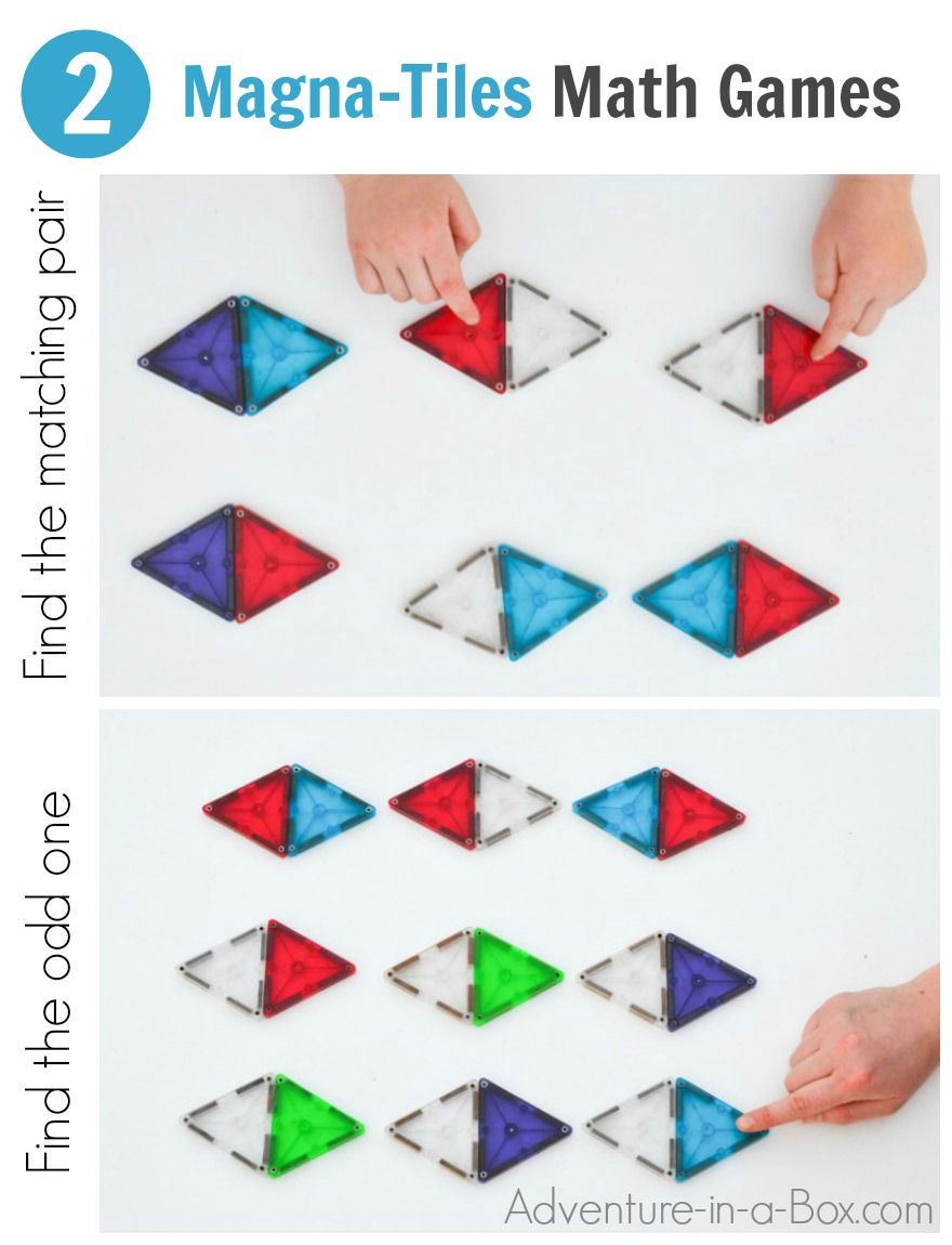 Practice colour, shape and pattern recognition with this pre-math matching game that kids can make by using Magna-Tiles!