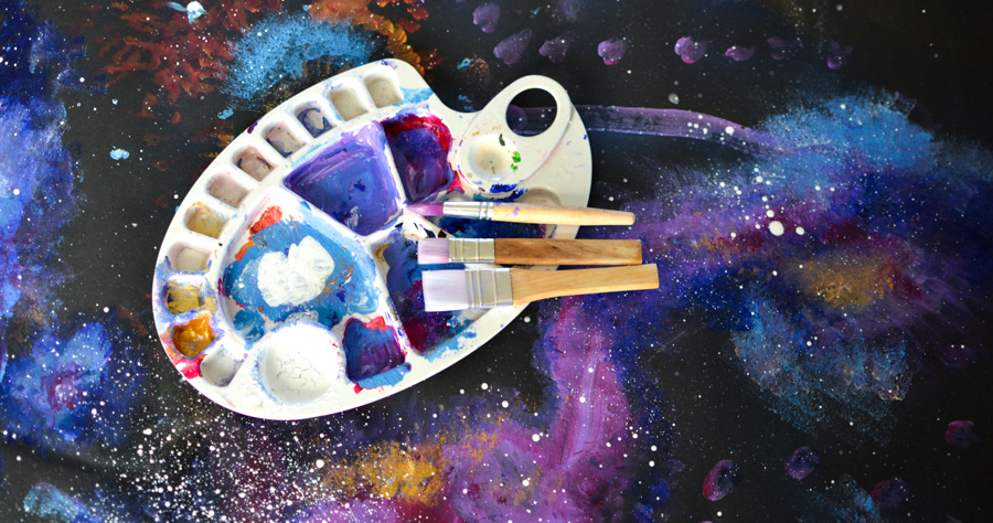 How to Paint Space in Acrylic with Kids