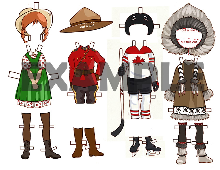 Canadian Dress Up Paper Doll Printable Template With