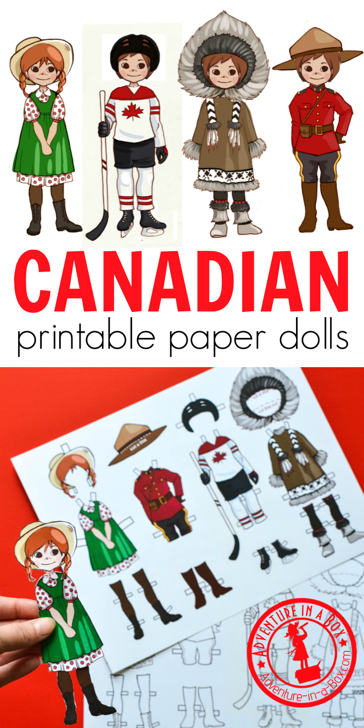 For studying a unit on Canada, make these printable Canadian dress-up paper dolls! Four Canadian costumes include Anne of Green Gables, a hockey player, an Inuit and a Mountie. #homeschool #canadaday #paperdoll #teaching #geography