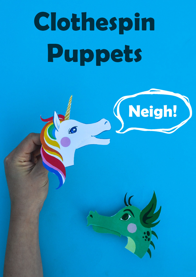 Clothespin Puppets: Free Printable Unicorn & Dragon Designs