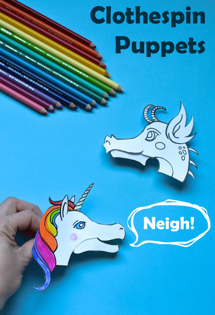 picture relating to Free Printable Designs named Dragon and Unicorn Clothespin Puppets with No cost Printable